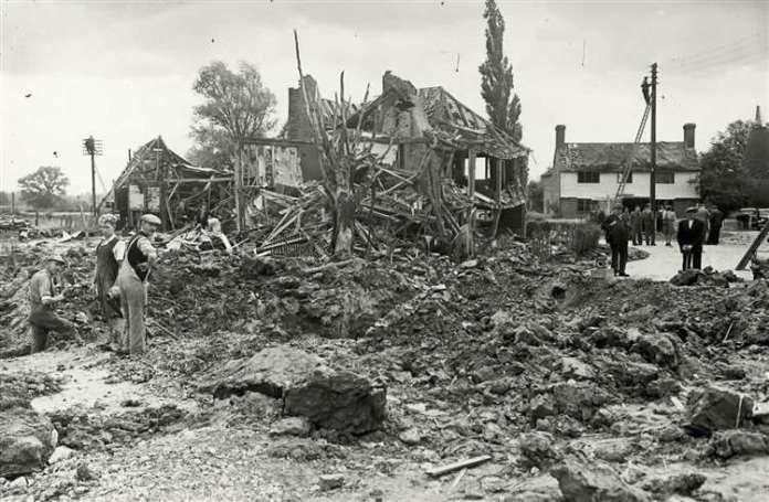 A German V1 flying bomb caused this devastation at Ashford Kent in 1944