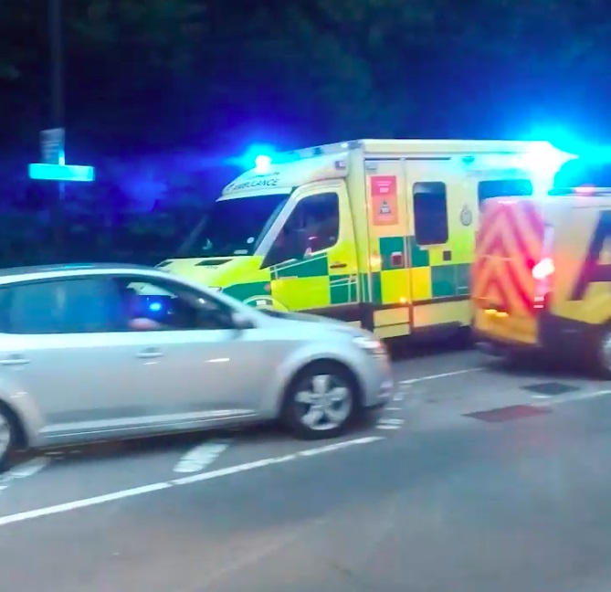 Ambulance crashes while trying to go through traffic, Bromley