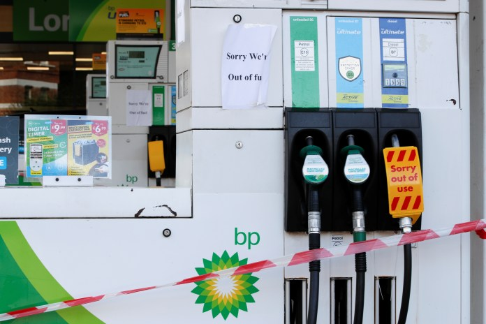 Warning signs have been put up at petrol pumps that drivers' garages have run out of fuel