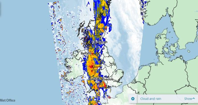 Heavy rain expected across the UK for a week