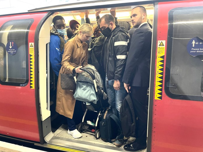 The Tube got packed today as Londoners abandoned their cars