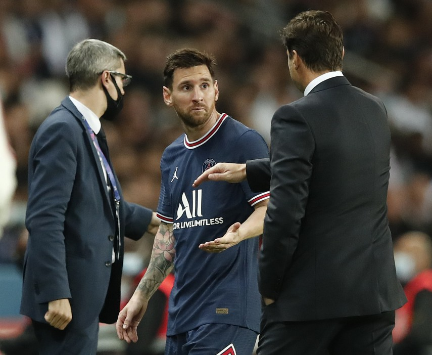 Messi looked puzzled by his manager's decision