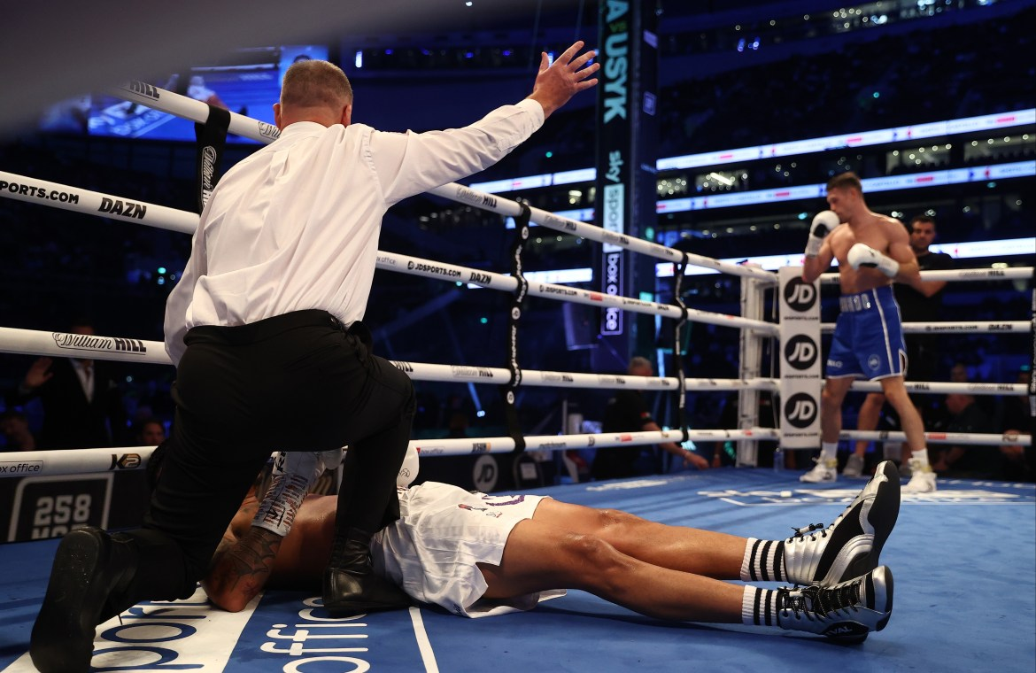 The referee instantly waved off the fight after the devastating KO