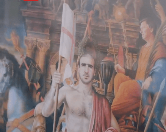 Neville gifts Tyson Fury bizarre painting of 'King' Eric Cantona featuring Man Utd legends including Fergie and Becks