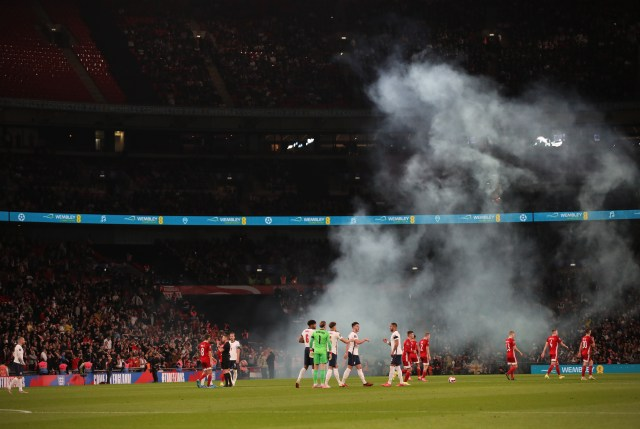 The bad-tempered scenes marred England's 1-1 draw with Hungary
