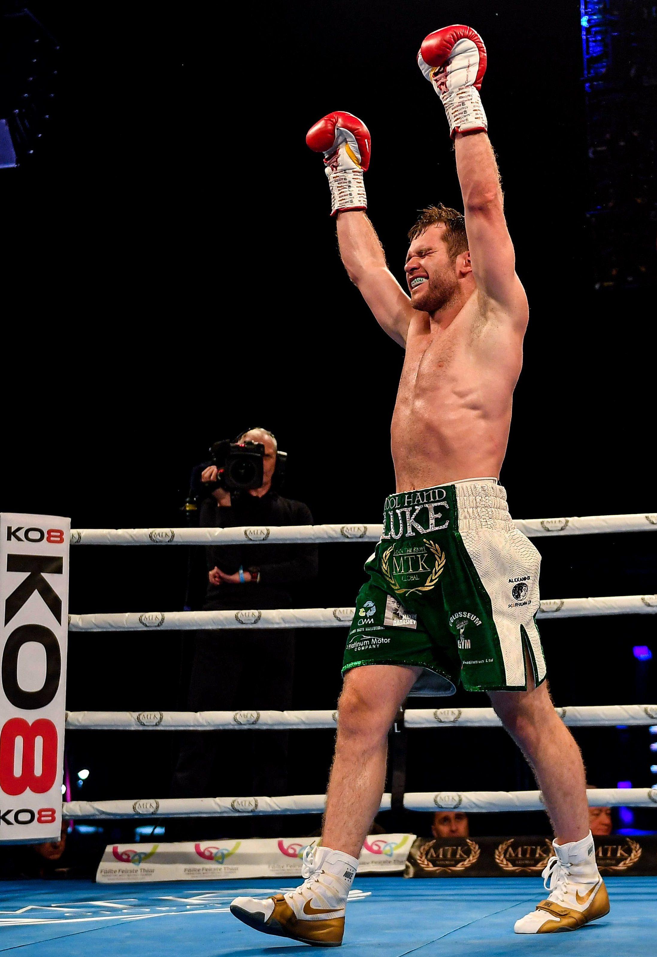 Luke Keeler celebrates beating Luis Arias in Belfast recently