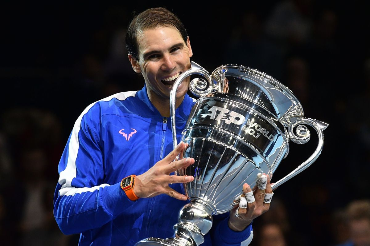 Rafael Nadal presented with world No1 trophy after epic comeback win against Stefanos Tsitsipas at ATP Finals - The Irish Sun