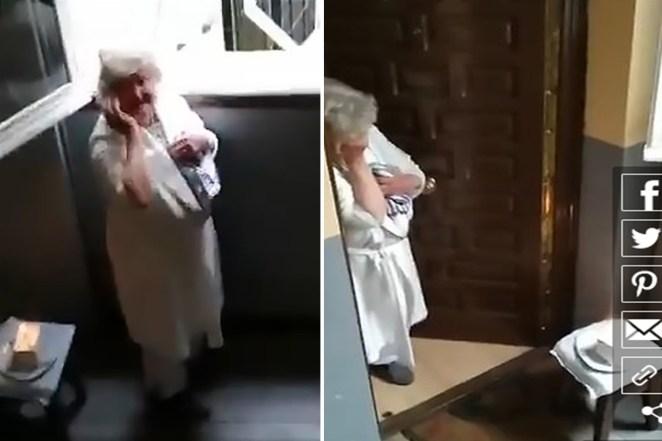 Image result for Spain: Woman, 80 Years in Coronavirus Lockdown Sheds Tears as Neighbors Sing Happy Birthday from Her Window