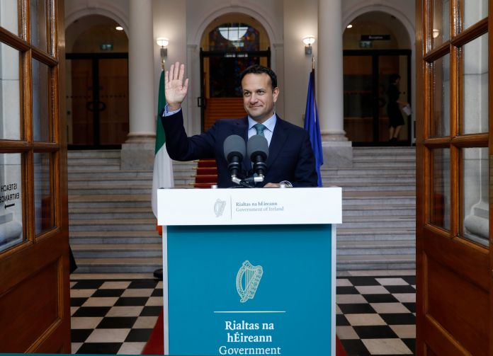 Taoiseach Varadkar spoke in front of government buildings
