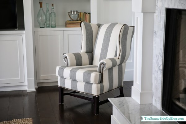 Gray Striped Wingback Chair