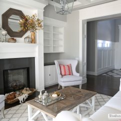 Living Room Glass Shelves Navy Blue White And Brown Fall (and Chairs!) In The Formal - Sunny ...