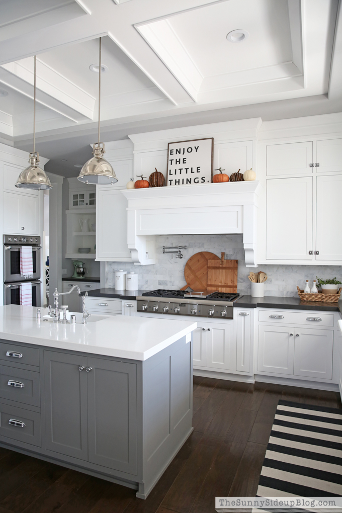 fall kitchen decor country valances simple the sunny side up blog white with coffered ceiling black quartz countertops