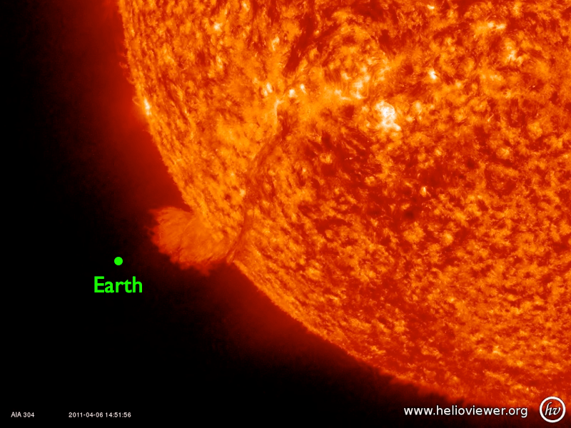 Earth vs. Sun on April 6, 2011