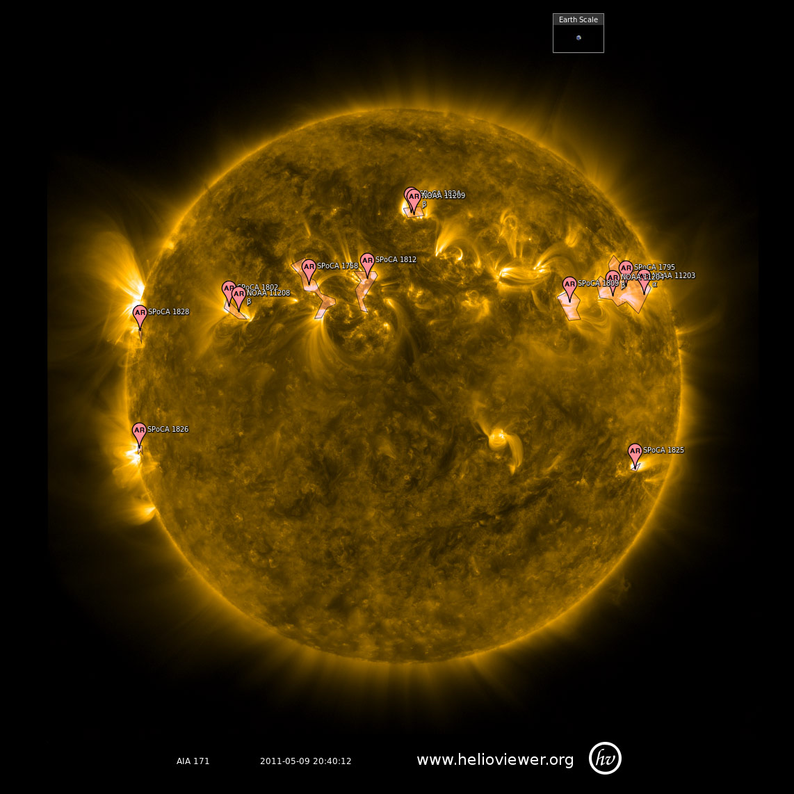 At ~20:40 UT on May 9, 2011 the area produced a C5 solar flare.