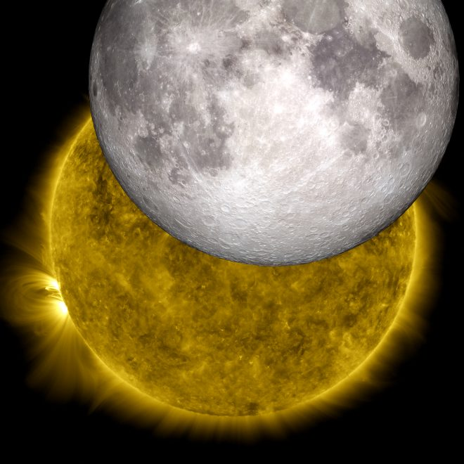 This image is a view of the sun captured by NASA's Solar Dynamics Observatory on Oct. 7, 2010, while partially obscured by the moon. A close look at the crisp horizon of the moon against the sun shows the outline of lunar mountains. A model of the moon from NASA's Lunar Reconnaissance Orbiter has been inserted into the picture, showing how perfectly the moon's true topology fits into the shadow observed by SDO. Credit: NASA/SDO/LRO/GSFC