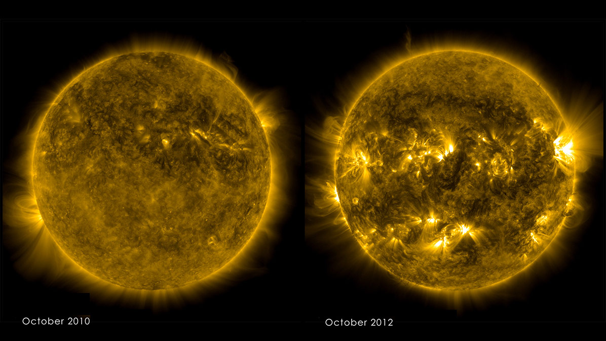 The sun was calm in fall 2010 (left), but had cycled toward solar maximum and a more active and varied solar atmosphere by fall 2012 (right).