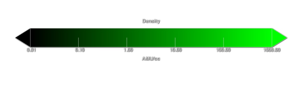 Color bar representing changes in plasma density, in atomic mass units (AMU) per cubic centimeter. This is roughly equal to the number of hydrogen ions per cubic centimeter.