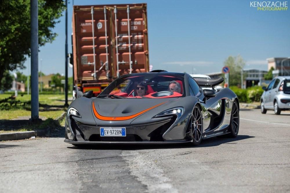 Horacio Pagani driving a Mclaren P1 supercar