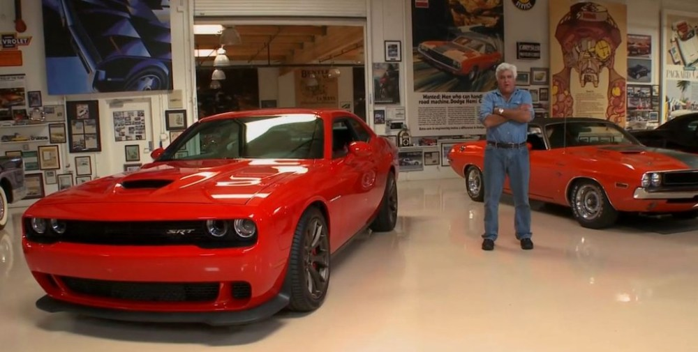 Jay Leno with a Dodge Challenger SRT Hellcat