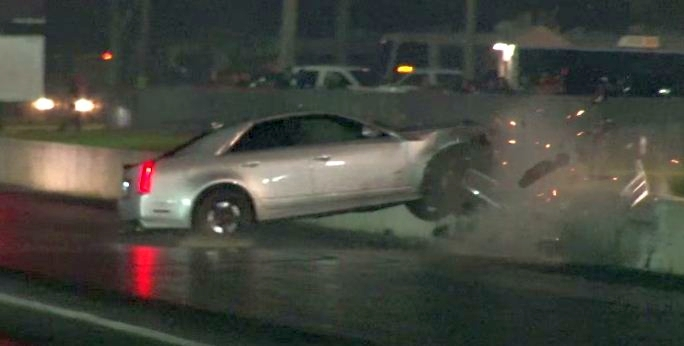 Cadillac CTS-V Drag strip crash