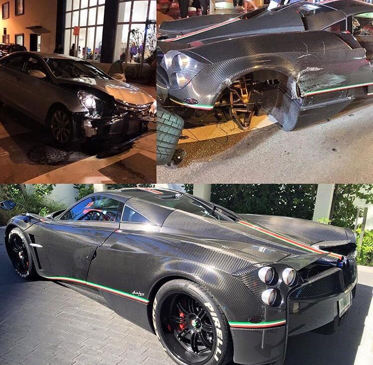 Kris Singh's Huayra La Monza Lisa Crashed in Miami