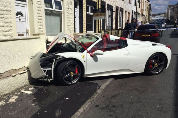 Lord Aleem's Ferrari crashed by newlyweds-1