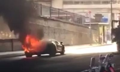 Lamborghini Aventador catches fire in London