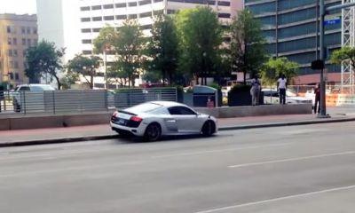 Half wit crashes Audi R8 in Houston