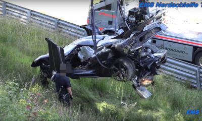 Koenigsegg One-1 crashes at Nurburgring