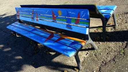 Painted bench on the De Griend waterfront