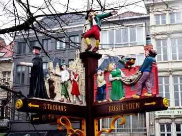 Mechelen - painted signpost in Grote Markt 1