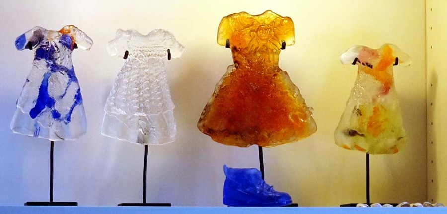 Some of Anna Egger's glass sculptures