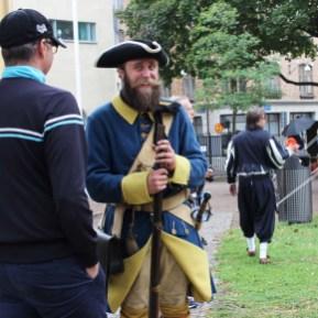 Historical re-enactors in conversation
