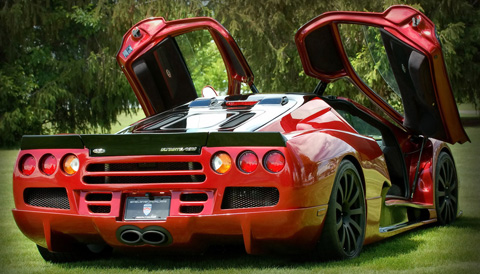 SSC Ultimate Aero red back view