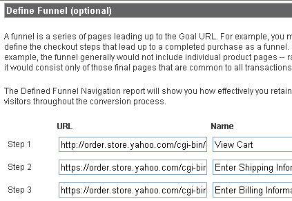 Google Analytics Goal Information Settings