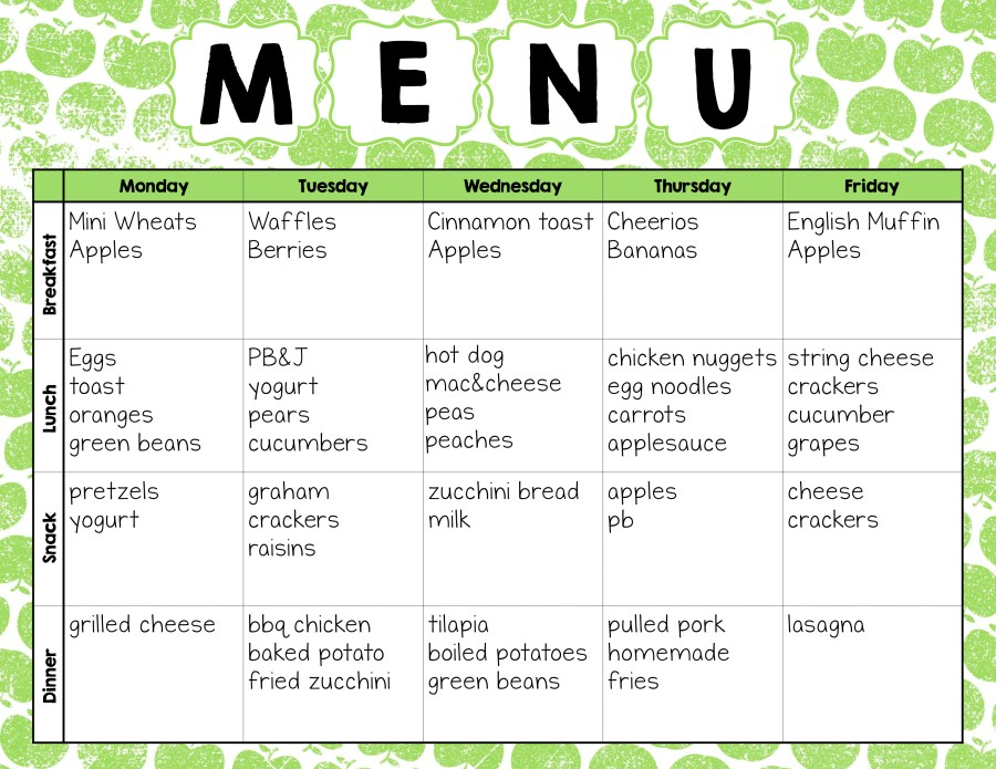 Make easy meal plans with this free weekly template the for Daycare food menu template