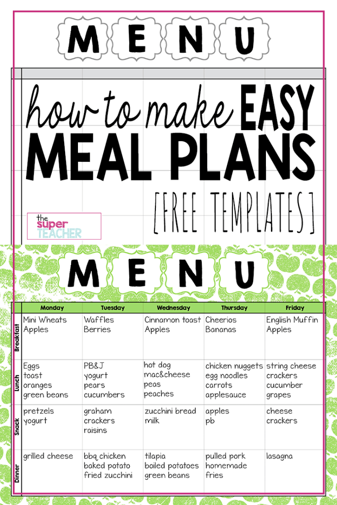 Make Easy Meal Plans With This Free Weekly Template The