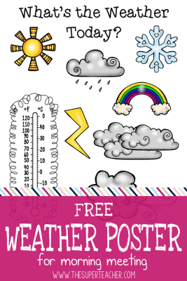 Free download! Bright Weather Poster for Preschool Circle Time