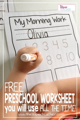 FREE Preschool Worksheet You Will Use All the Time!