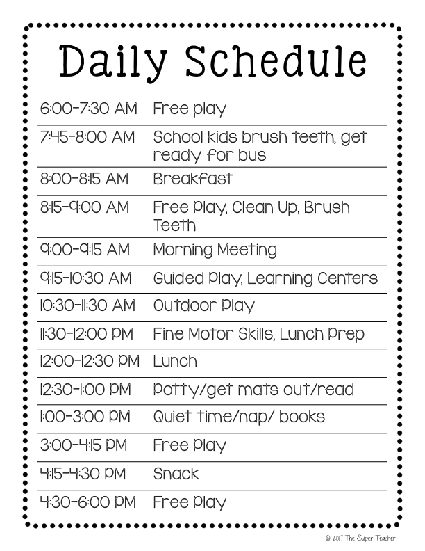 It has a professional outlook and in also printable in pdf format so you can be an efficient teacher. How To Make A Daycare Schedule That Works Free Template The Super Teacher