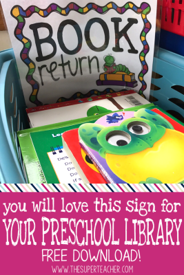 "Bright ""Book Return"" Sign for your daycare classroom or preschool library area."