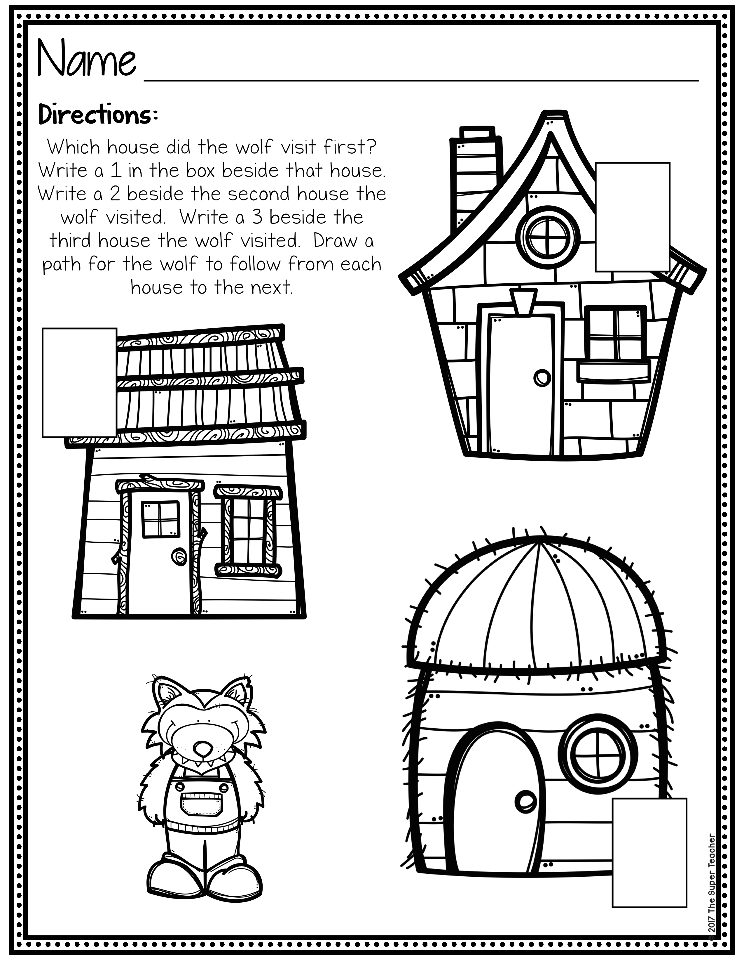 Three Little Pigs Story Elements and Story Retelling Worksheets – The Super  Teacher [ 3300 x 2550 Pixel ]