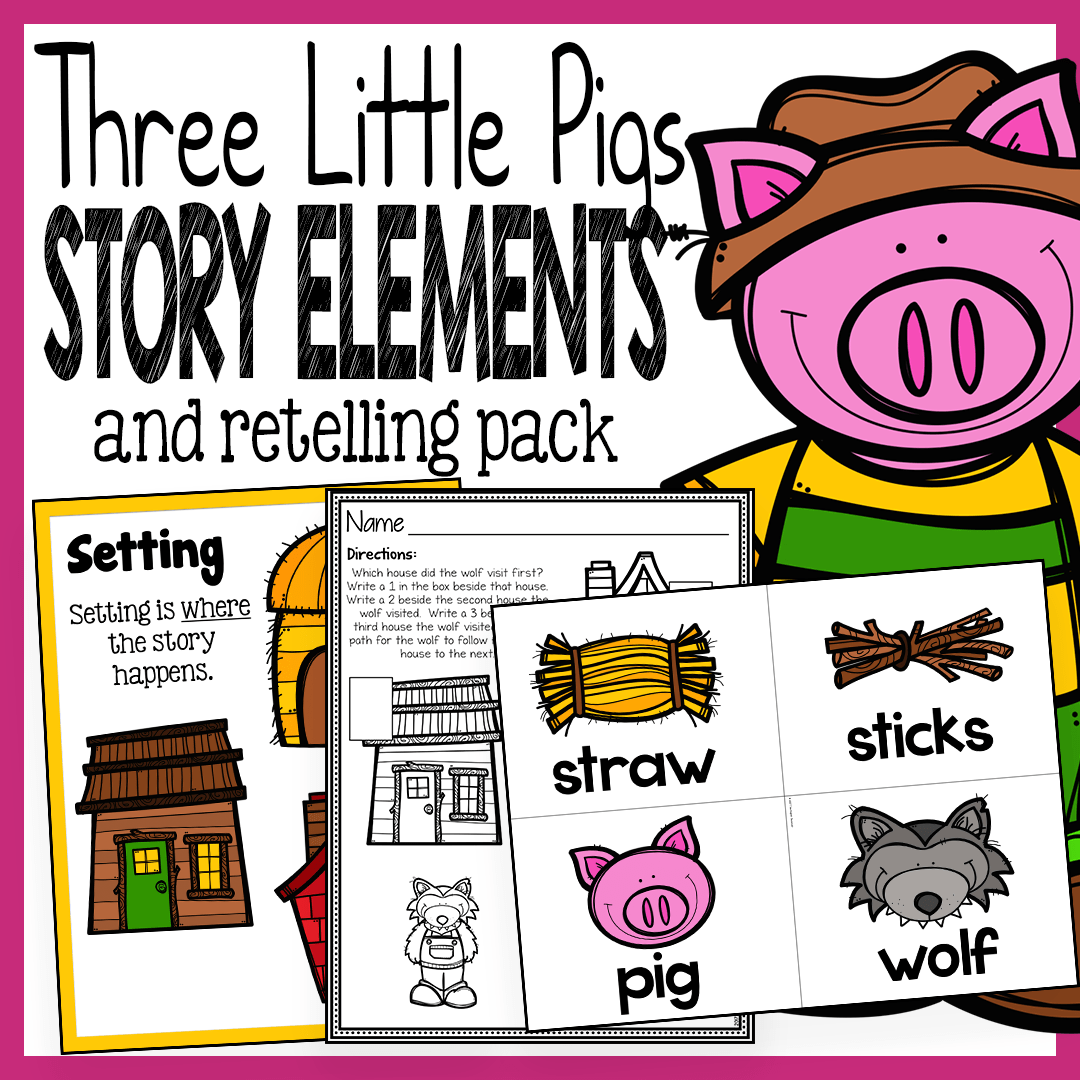 medium resolution of Three Little Pigs Story Elements and Story Retelling Worksheets – The Super  Teacher