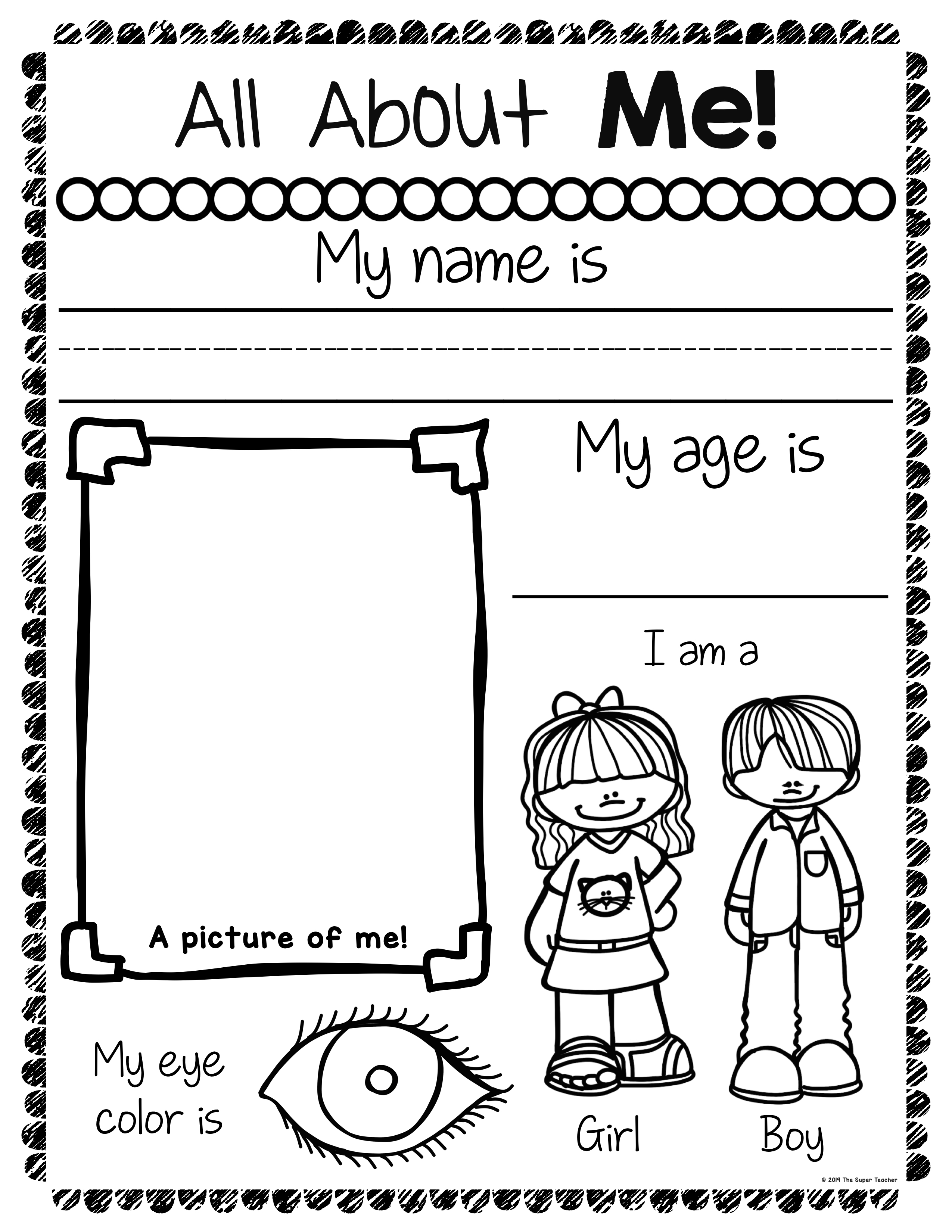 All About Me Worksheets – The Super Teacher [ 3300 x 2550 Pixel ]