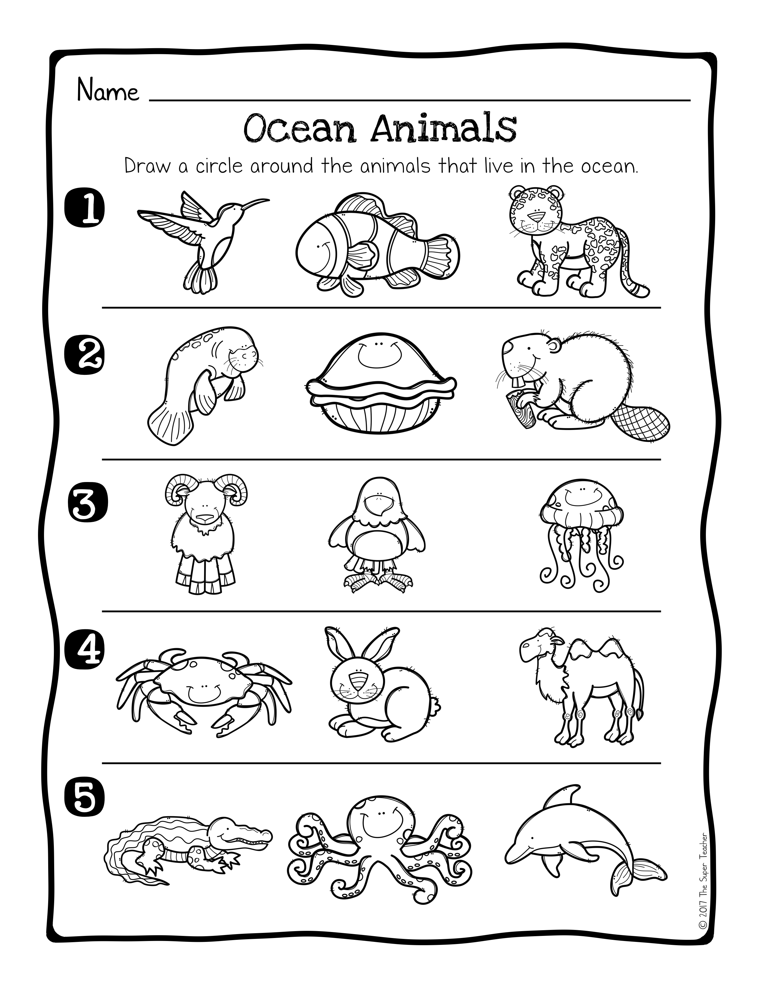 Habitat Worksheets.002 - Ocean Worksheets For Kindergarten