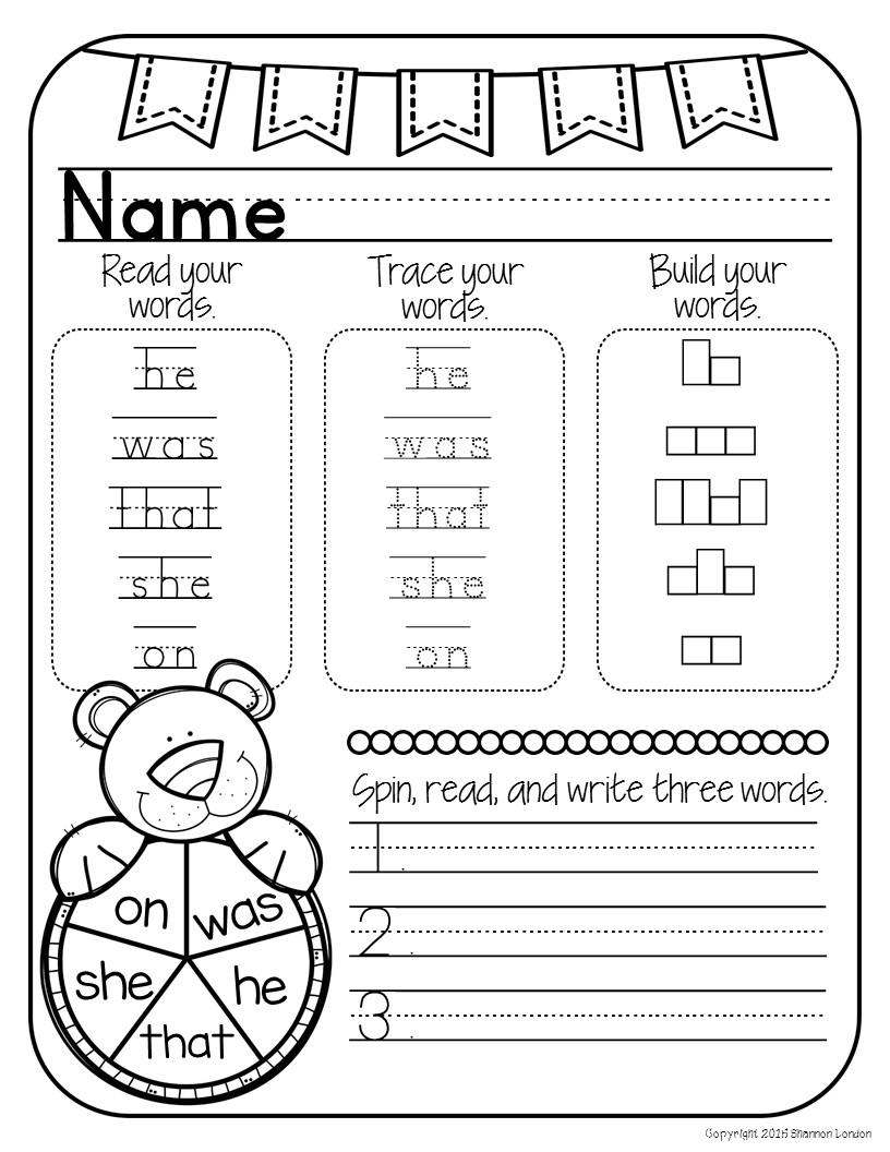 Kindergarten Sight Words Worksheets NO PREP - The Super ...