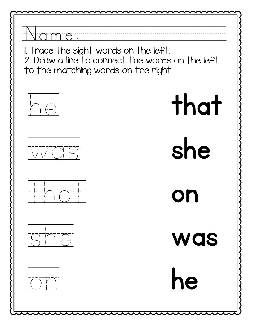Kindergarten Sight Words Worksheets NO PREP – The Super Teacher [ 1056 x 816 Pixel ]
