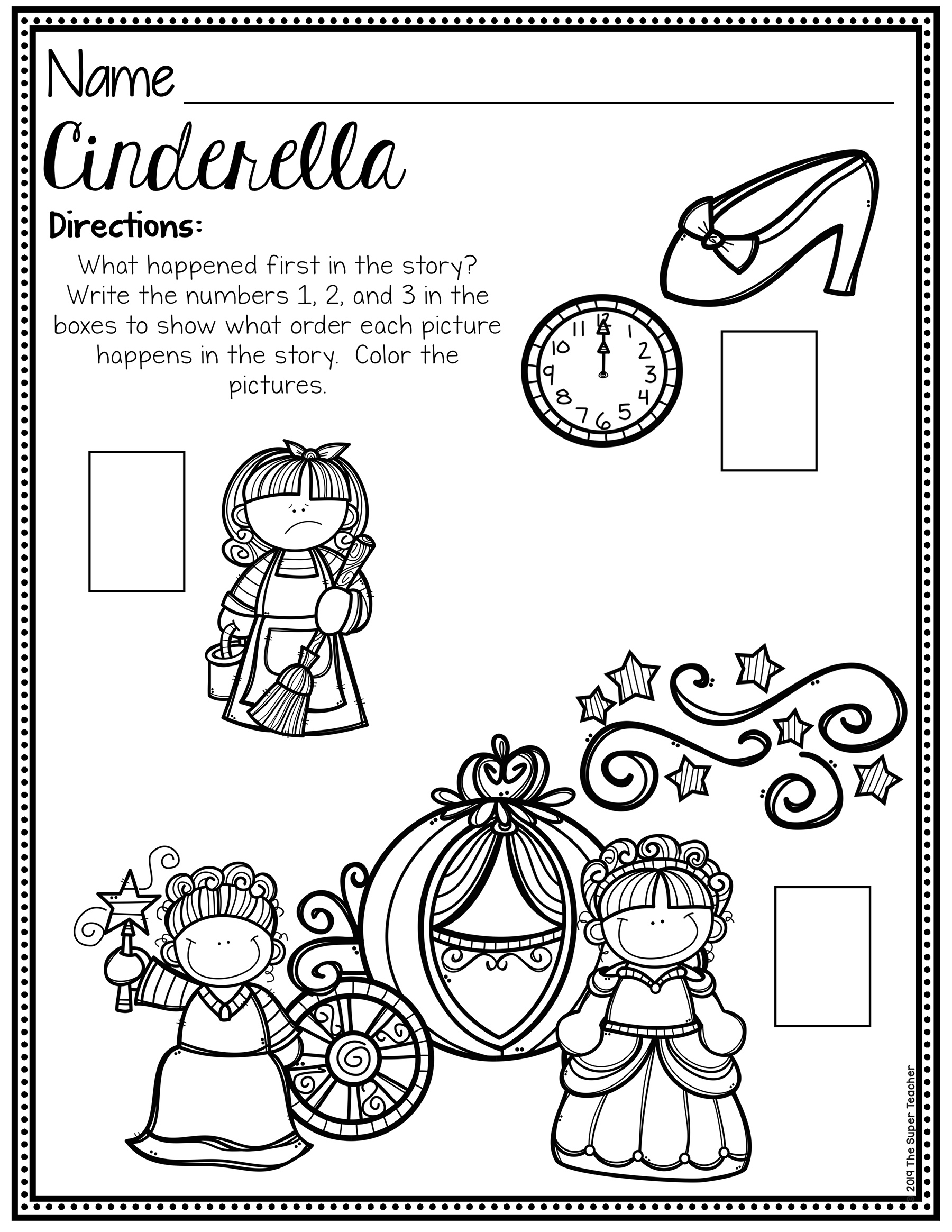 Cinderella Story Elements and Story Retelling Worksheets