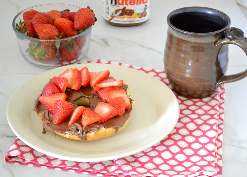 Strawberry Nutella Bagel--A decadent morning treat, inspired by the Surfinista Cafe in Cocoa Beach, Florida.