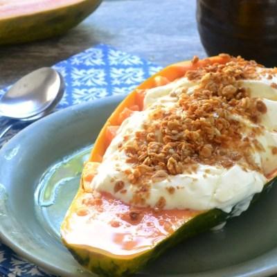 Yogurt Parfait in a Papaya Bowl
